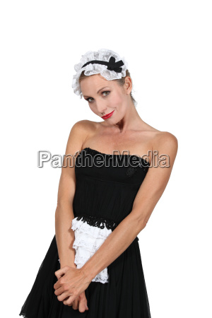 model dressed in maid outfit