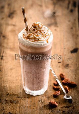 glass of thick creamy coffee milkshake