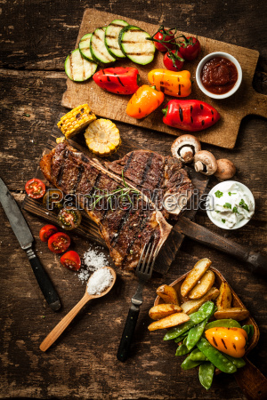 wholesome spread with t bone steak