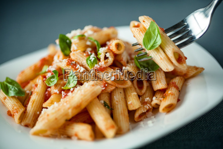 penne pasta with a spicy sauce