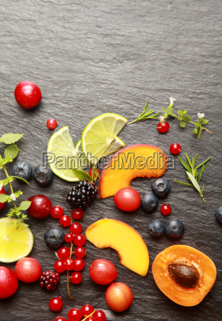 fresh fruit and herbs on a