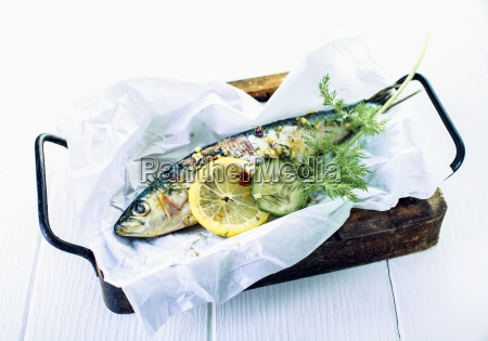 savory baked whole fish with herbs