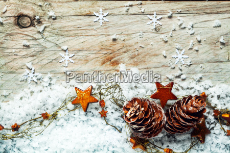 seasonal christmas background with cones and