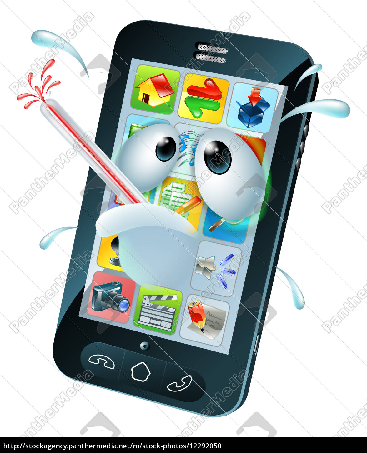 Virus Mobile Cell Phone Cartoon Royalty Free Image 12292050 Panthermedia Stock Agency