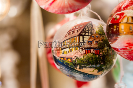 christmas ornament with semi timbered house