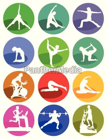gymnastics and fitness figures on a