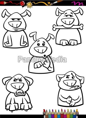 dog emotion set cartoon coloring page