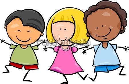 multicultural, children, cartoon, illustration - 12332810
