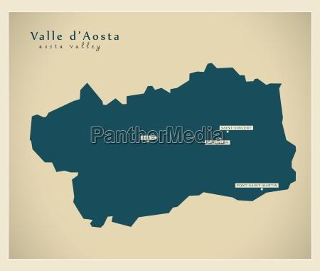 modern map aosta valley it