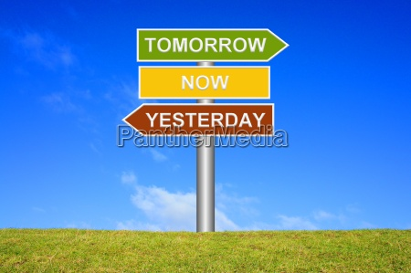 signpost tomorrow now yesterday