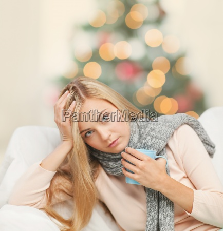 diseased woman with cup of tea