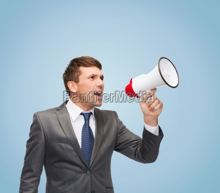 buisnessman, with, bullhorn, or, megaphone - 12370620