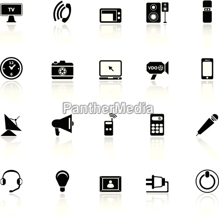 electronic icons with reflect on white