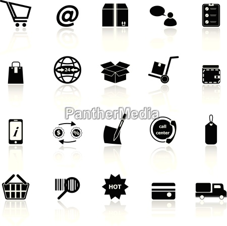 ecommerce icons with reflect on white