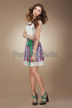 sentimentality elegant cute female in stylish