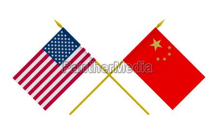 flags china and usa