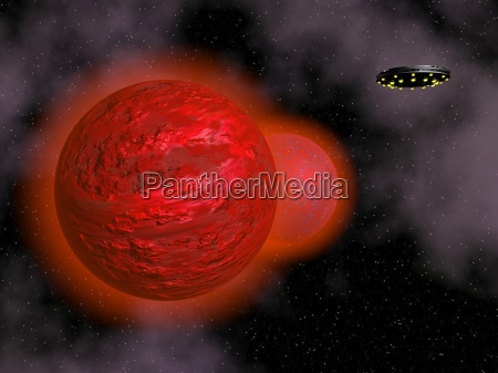 spaceship and red planet 3d