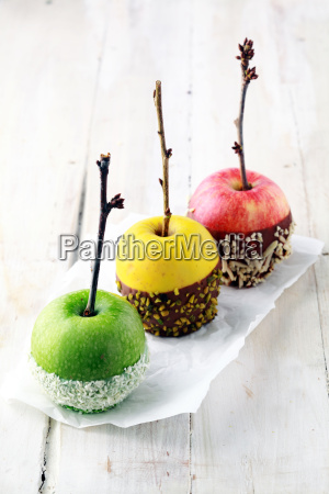 colorful trio of candied apples for
