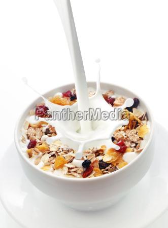 milk splashing into a bowl of