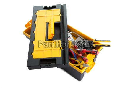 plastic tool box with tools