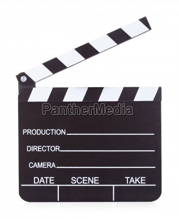 movie production clapper board on white