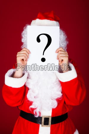 santa holding question mark in front