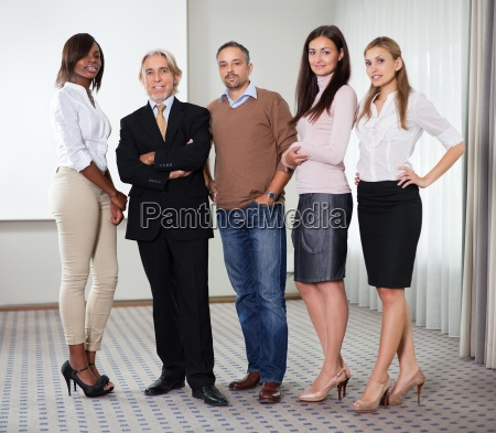 diverse business group standing together