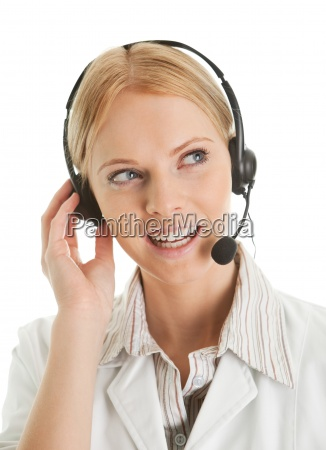 cheerfull call center operator