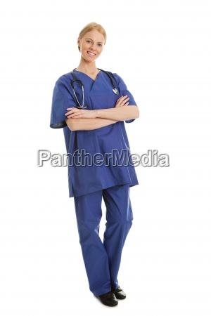 smiling nurse woman with stethoscope