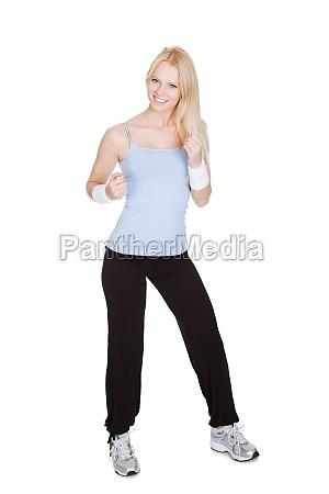 beautiful woman enjoying zumba fitness
