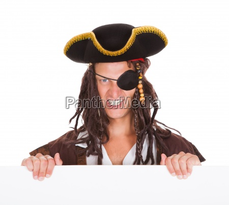 pirate holding placard in mouth
