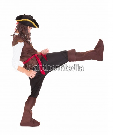 portrait of a pirate kicking