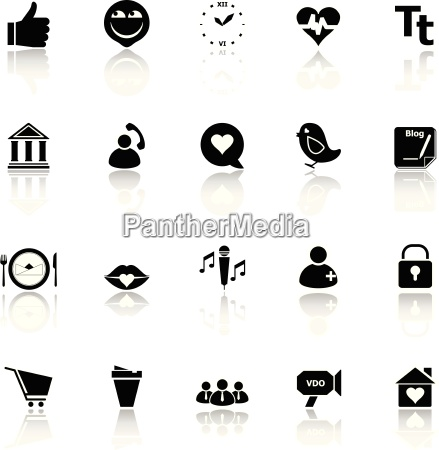 chat conversation icons with reflect on