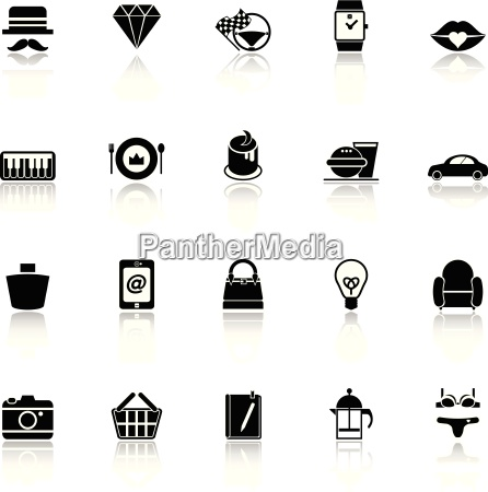 department store item category icons with