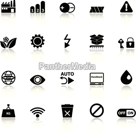 electronic sign icons with reflect on