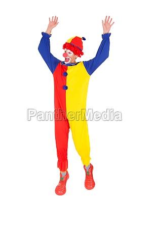 clown jumping in joy