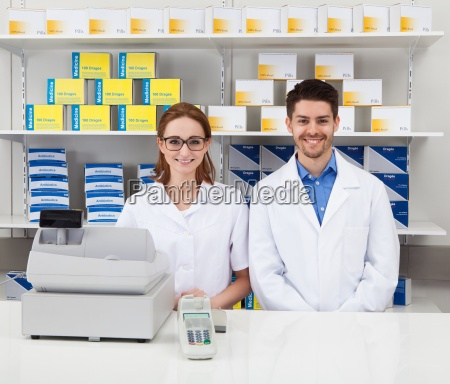 two pharmacist in pharmacy