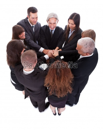 business team pledging their support