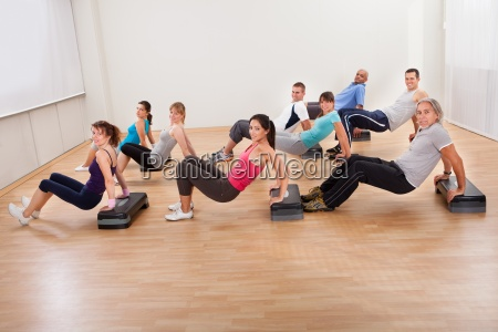 large group of people working out