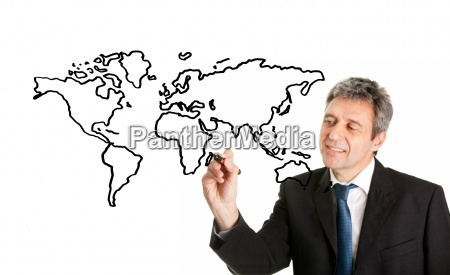 world map on white screen