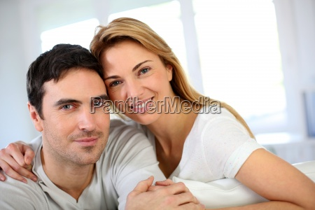 portrait of in love couple sitting