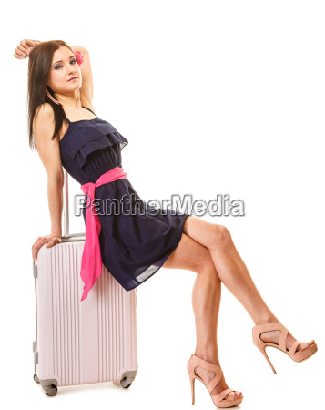 travel and vacation woman with suitcase