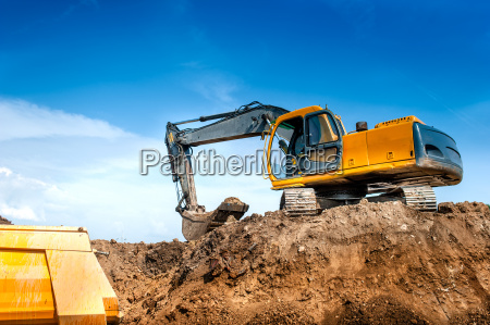 construction site digger excavator and dumper