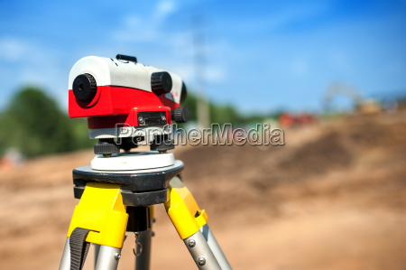 close up of theodolite measuring system