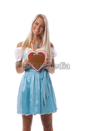 bavarian woman with a gingerbread heart