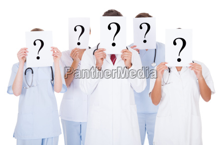 group of doctors with question mark