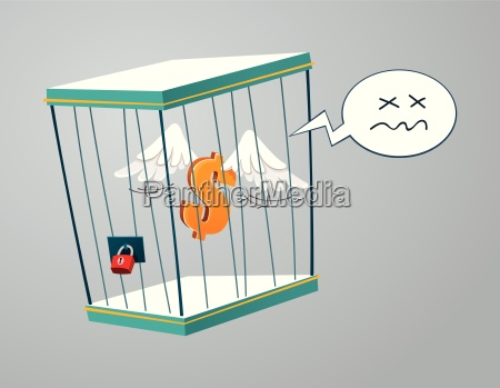 flying dollar trapped in a cage