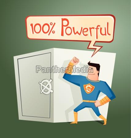 superhero guarding a deposit box