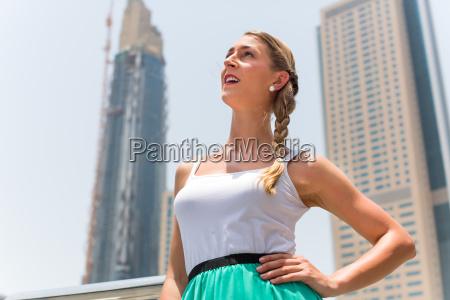 woman in big city dubai