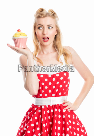 woman with cupcake